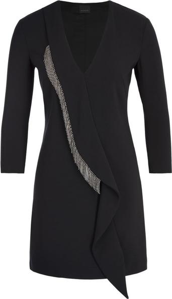 Czarna sukienka Pinko mini z długim rękawem kopertowa