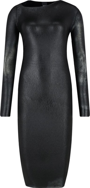 Czarna sukienka Pinko z asymetrycznym dekoltem z długim rękawem