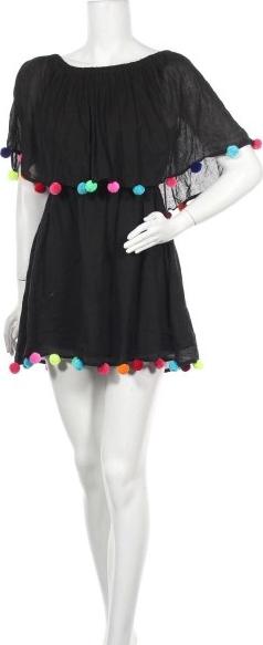 Czarna sukienka Pitusa z krótkim rękawem z okrągłym dekoltem mini