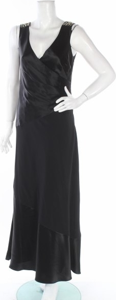 Czarna sukienka Planet z dekoltem w kształcie litery v maxi