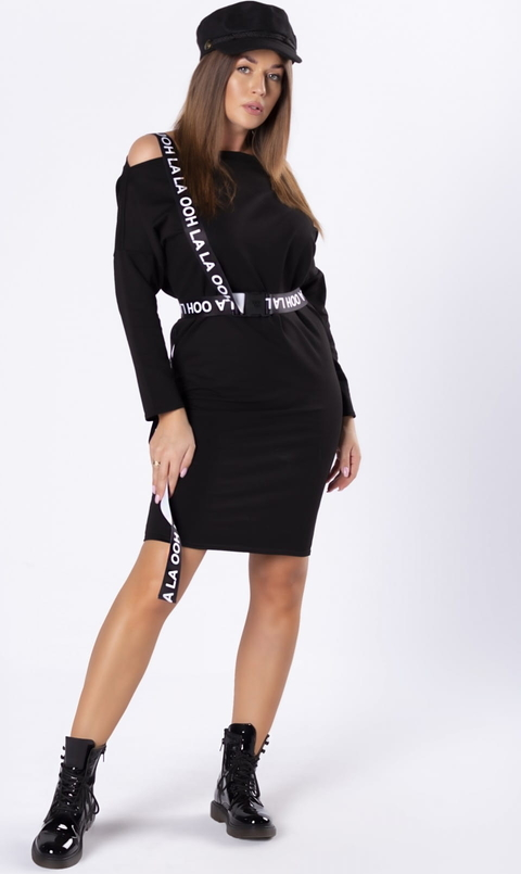 Czarna sukienka Ptak Moda mini w stylu casual z długim rękawem