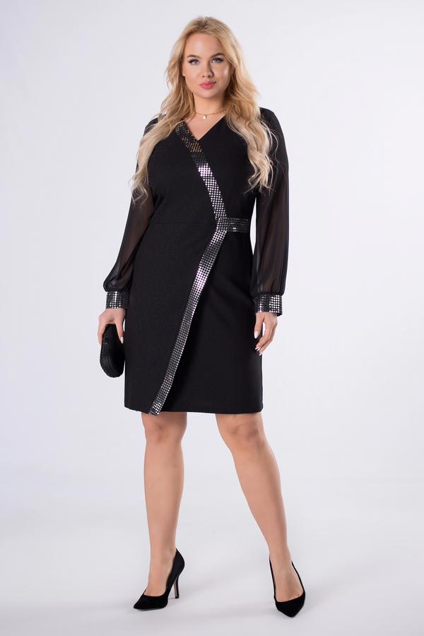 Czarna sukienka Ptakmoda.com z tkaniny z długim rękawem z dekoltem w kształcie litery v