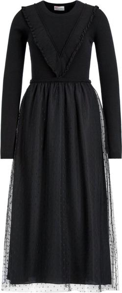 Czarna sukienka Red Valentino z długim rękawem z okrągłym dekoltem
