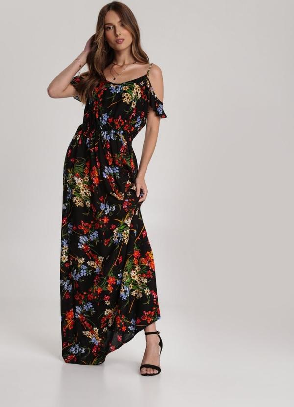 Czarna sukienka Renee na ramiączkach maxi