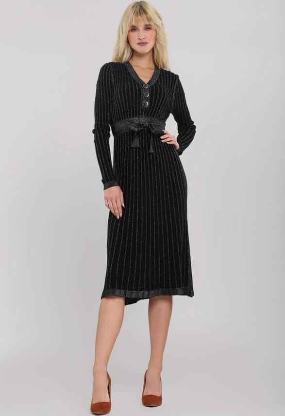 Czarna sukienka Renee z dekoltem w kształcie litery v