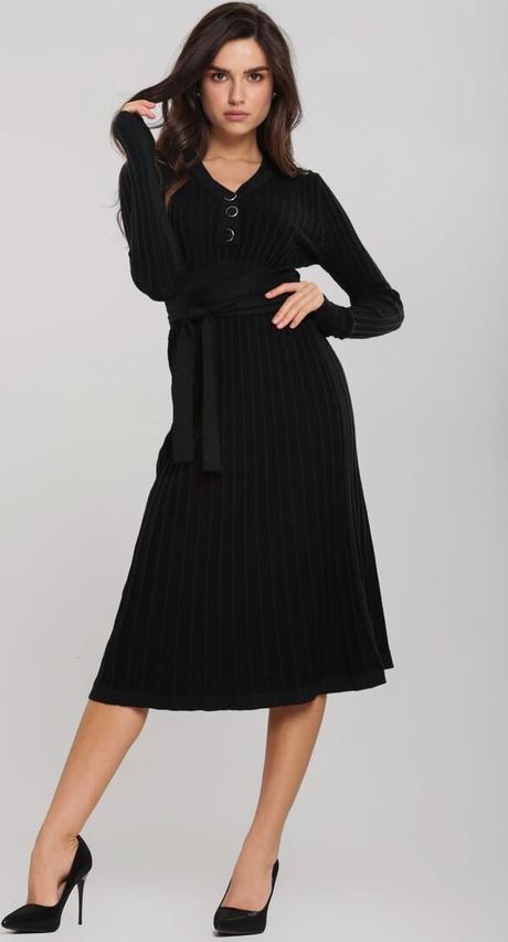 Czarna sukienka Renee z dekoltem w kształcie litery v midi