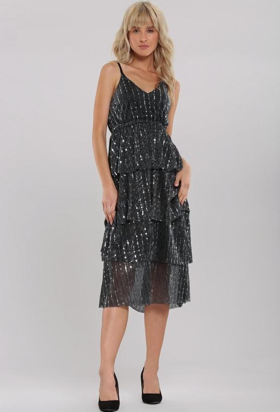 Czarna sukienka Renee z dekoltem w kształcie litery v na ramiączkach