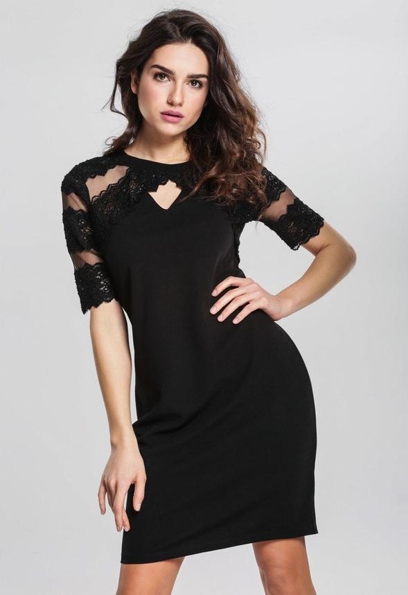 Czarna sukienka Renee z okrągłym dekoltem
