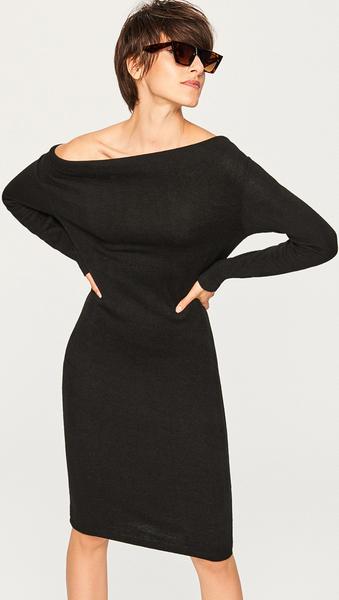 3e06d4e6d9 Czarna sukienka Reserved midi w stylu klasycznym