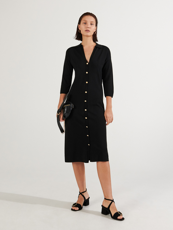 Czarna sukienka Reserved z dekoltem w kształcie litery v w stylu casual midi