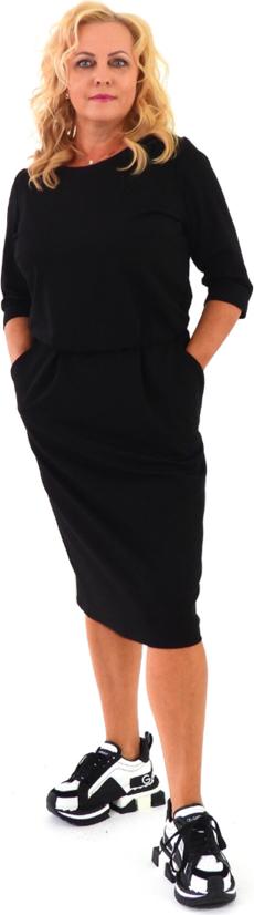 Czarna sukienka Roxana - sukienki z okrągłym dekoltem midi z długim rękawem
