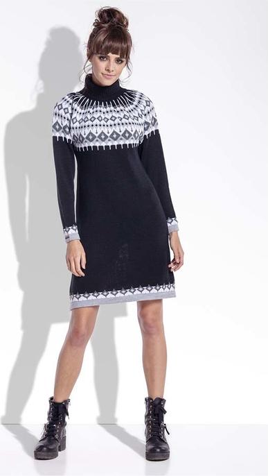 Czarna sukienka SALE z golfem