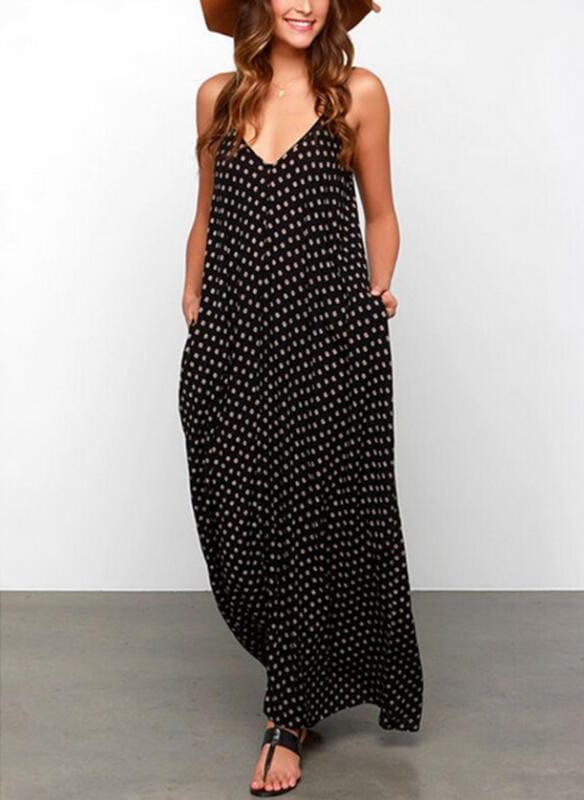 Czarna sukienka Sandbella w stylu boho maxi