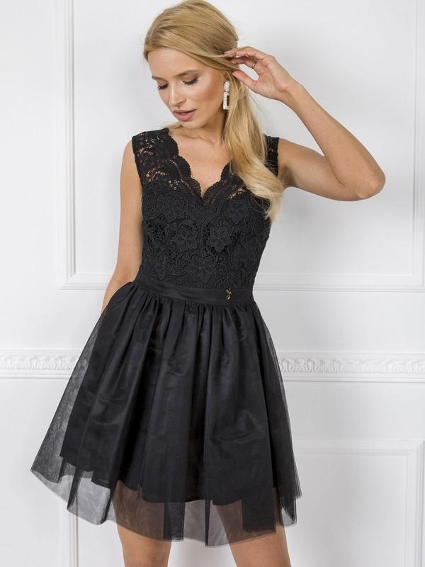 Czarna sukienka Sheandher.pl z dekoltem w kształcie litery v mini
