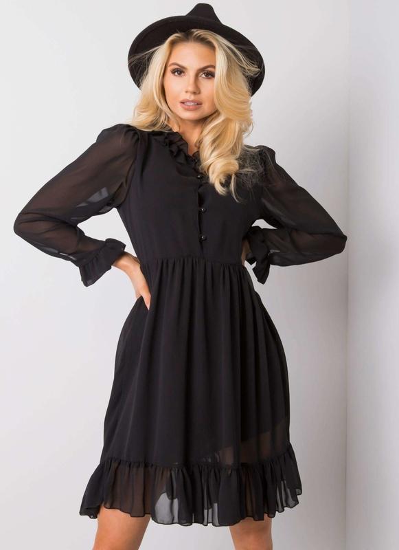 Czarna sukienka Sheandher.pl z okrągłym dekoltem koszulowa z długim rękawem
