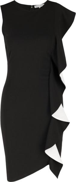 Czarna sukienka Silvian Heach midi z okrągłym dekoltem