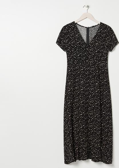 Czarna sukienka Sinsay z dekoltem w kształcie litery v midi