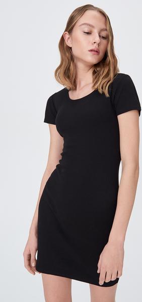 Czarna sukienka Sinsay z krótkim rękawem dopasowana