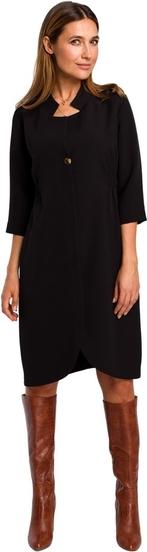 Czarna sukienka Style midi z kołnierzykiem z długim rękawem