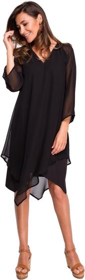 Czarna sukienka Style z tkaniny midi z długim rękawem