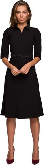 Czarna sukienka Style z tkaniny z kołnierzykiem midi