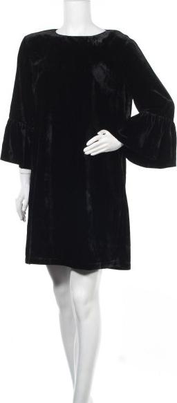 Czarna sukienka Sun68 z okrągłym dekoltem z długim rękawem mini