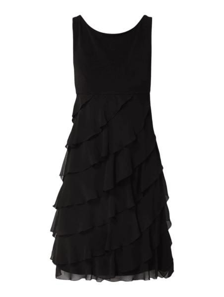 Czarna sukienka Swing midi z okrągłym dekoltem z szyfonu