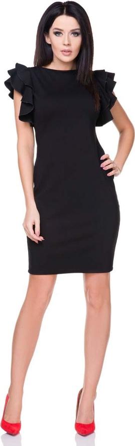 Czarna sukienka Tessita bez rękawów z okrągłym dekoltem