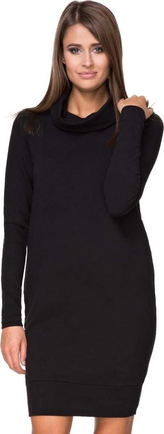 Czarna sukienka Tessita z golfem z bawełny