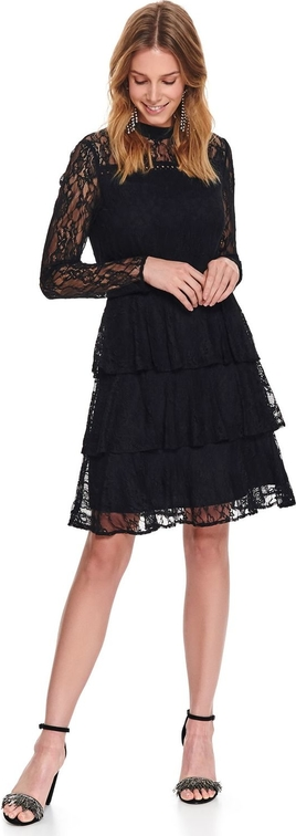 Czarna sukienka Top Secret mini z długim rękawem