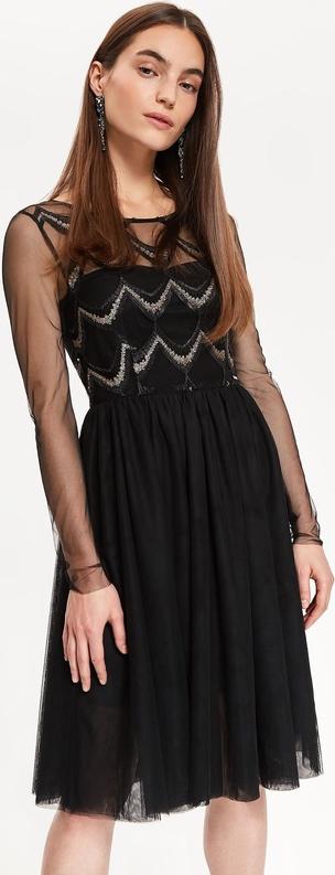 Czarna sukienka Top Secret rozkloszowana z okrągłym dekoltem z długim rękawem