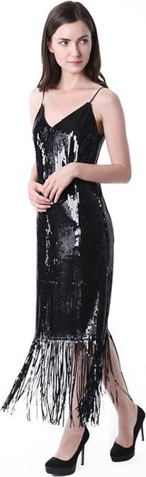Czarna sukienka TOVA w stylu boho z dekoltem w kształcie litery v