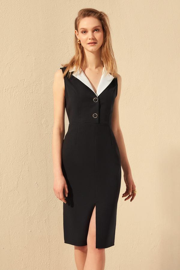 Czarna sukienka Trendyol bez rękawów midi