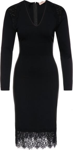 Czarna sukienka Twinset dopasowana midi