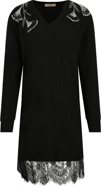 Czarna sukienka Twinset z dekoltem w kształcie litery v z kaszmiru z długim rękawem
