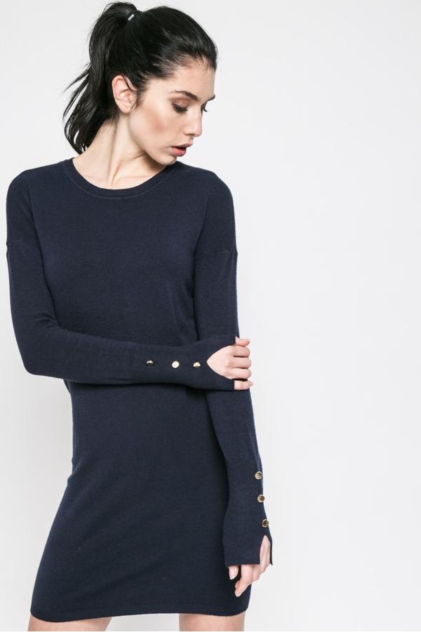 01e9f6eea4 Czarna sukienka Vero Moda mini z długim rękawem z okrągłym dekoltem