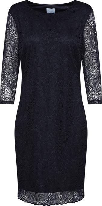 Czarna sukienka Vila z długim rękawem z okrągłym dekoltem mini