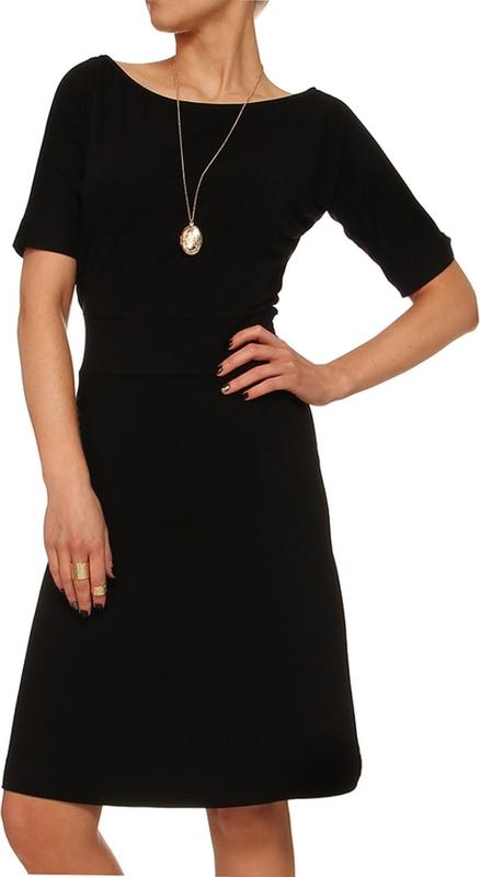 Czarna sukienka Yuliya Babich trapezowa z krótkim rękawem mini