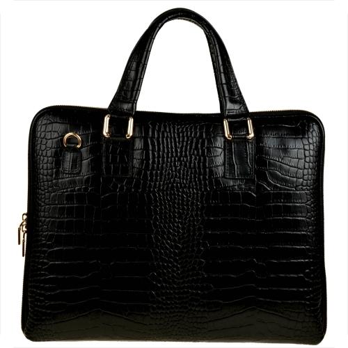 Czarna torebka Borse in Pelle do ręki lakierowana w stylu glamour