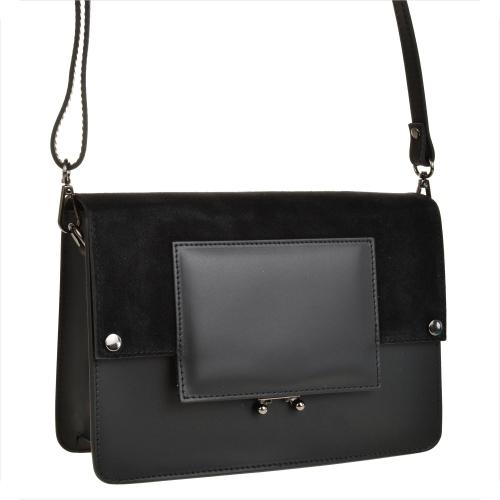Czarna torebka GENUINE LEATHER w stylu glamour na ramię ze skóry