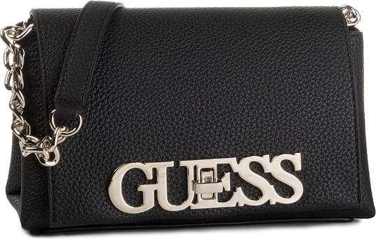 Czarna torebka Guess zdobiona mała z aplikacjami