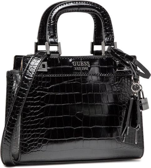 Czarna torebka Guess ze skóry matowa do ręki