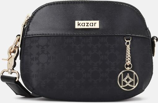Czarna torebka Kazar na ramię w stylu glamour z tkaniny