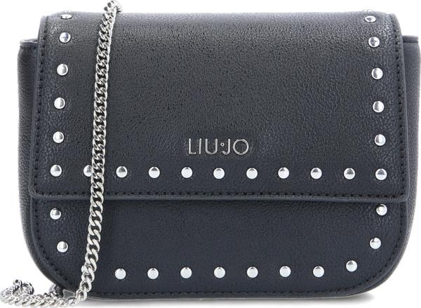 Czarna torebka Liu-Jo z aplikacjami na ramię zdobiona
