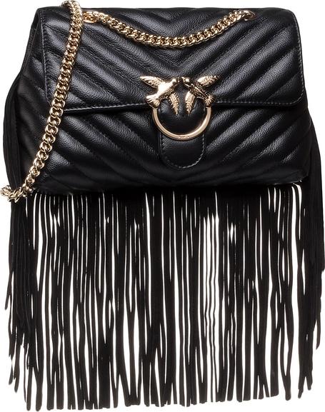 Czarna torebka Pinko średnia zamszowa w stylu retro