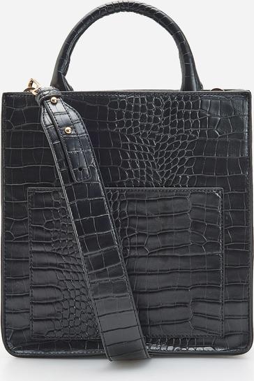 Czarna torebka Reserved ze skóry duża do ręki