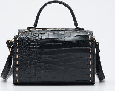 Czarna torebka Sinsay z tłoczeniem średnia