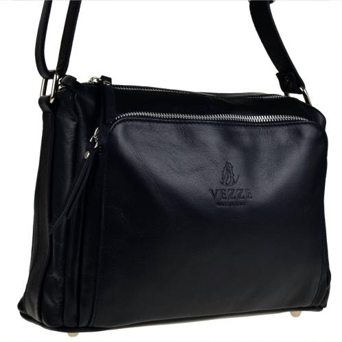 Czarna torebka vezze na ramię ze skóry średnia