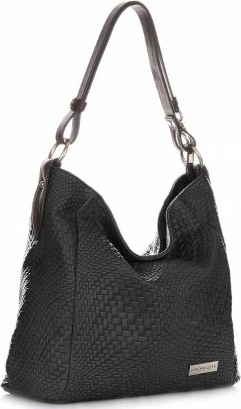 Czarna torebka VITTORIA GOTTI w stylu glamour ze skóry duża