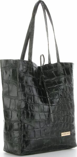 Czarna torebka VITTORIA GOTTI z tłoczeniem na ramię ze skóry